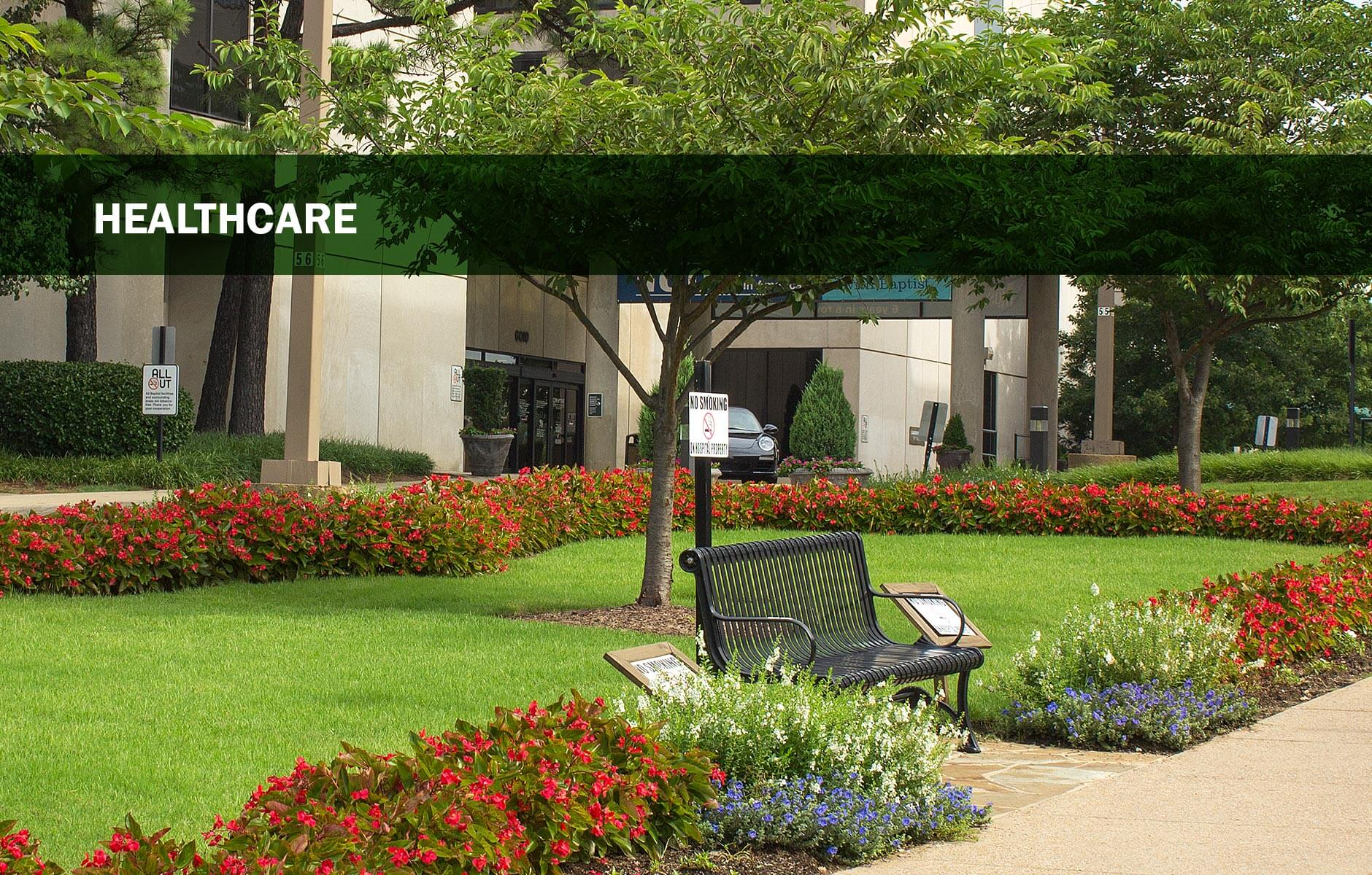 Colorful courtyard at healthcare facility