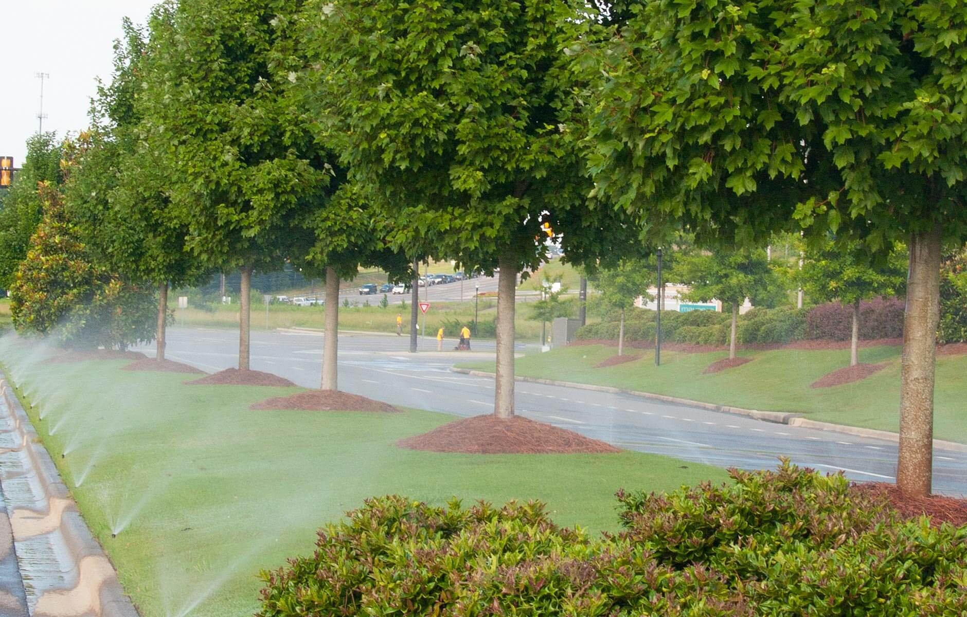 Irrigation system keeping the grass and tress green at a retail property