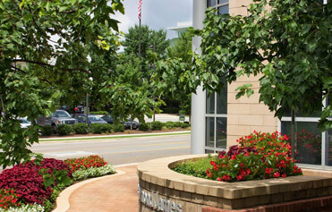 Office park enhanced with ground level and raised flower beds