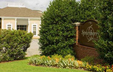 Business sign enhanced with flowers and shrubs
