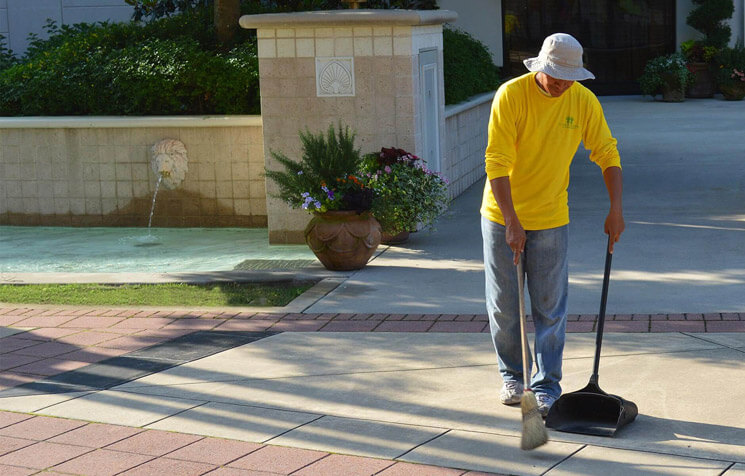 Our porters tend to your property by hand-watering and sweeping