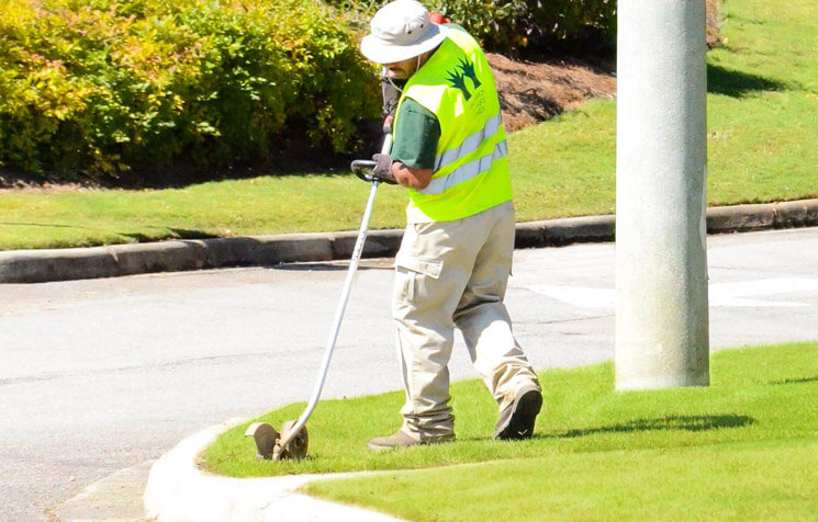 Edging and maintaining grass at large retail center